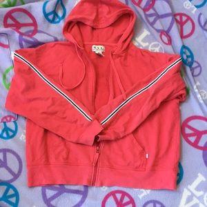 NYL retro red hoodie. Size large. Racing stripe